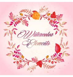 watercolor floral elements set - vector image