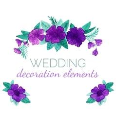Watercolor purple flowers decor elements vector