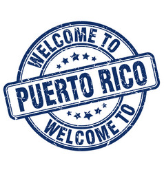 Welcome to puerto rico blue round vintage stamp vector