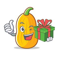 With gift butternut squash mascot cartoon vector