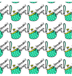 women fashion green bag and text seamless pattern vector image