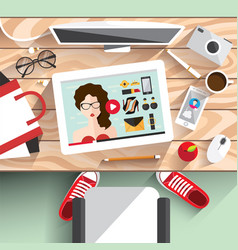 Workplace modern girls vector