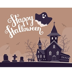Halloween of haunted house cemetery bats o vector