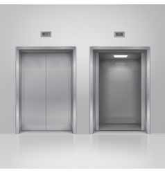Open and closed chrome metal elevator doors vector