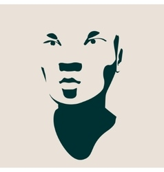 Head silhouette face front view vector