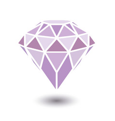 Geometrical purple diamond with shadow isolated on vector