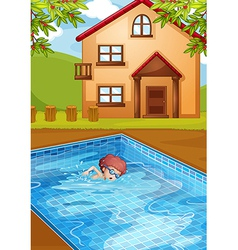 A boy swimming at the pool in his backyard vector