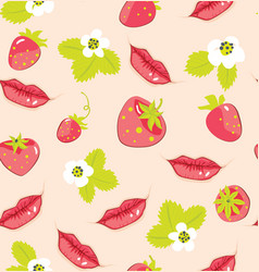 Pattern with strawberry and lips vector