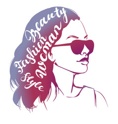 Girl in sunglasses beautiful woman face vector