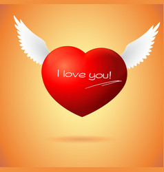 Soaring red heart with wings vector