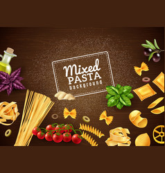 Mixed pasta background vector