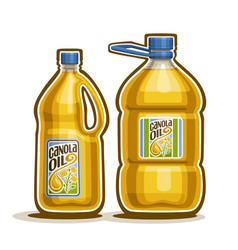2 big yellow plastic bottles with canola oil vector image
