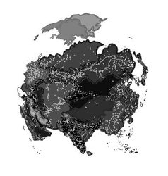 Asia at night as engraving vector
