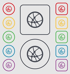 Basketball icon sign symbols on the round and vector