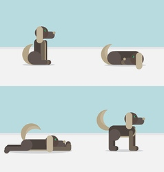 Dog in 4 positions vector