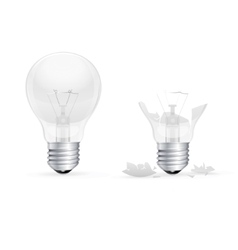 Whole and broken light bulb on a white background vector