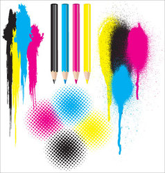 CMYK splatters pencils and halftones vector image