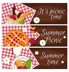 Set of banners with wooden desk with picnic basket vector