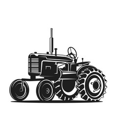 black old tractor silhouette on white background vector image vector image