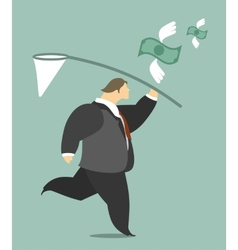 Businessman catching a butterfly net money vector