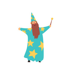 cheerful man with long beard in blue wizard vector image