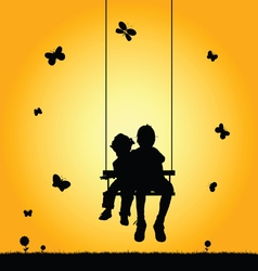 Child two on swing silhouette vector
