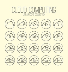 Cloud Computing Linear Icons Collection vector image vector image