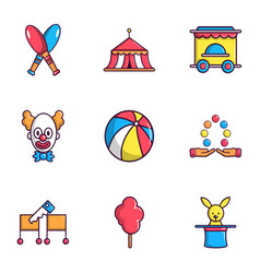 Clown show on birthday icons set flat style vector