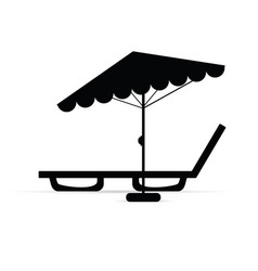 Deckchair with umbrella relax in black vector