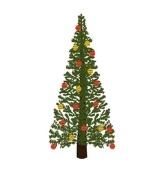 Decorated green christmas tree with trunk vector