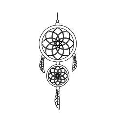 Dreamcatcher icon in outline style isolated on vector