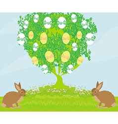 Easter card with rabbits and tree vector image