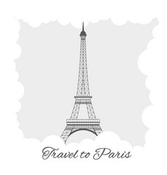 eiffel tower with clouds vector image