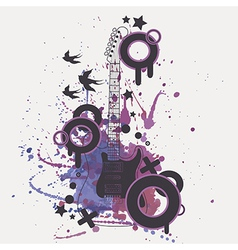 electric guitar with watercolor splash b vector image vector image