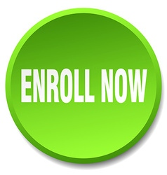 Enroll now green round flat isolated push button vector