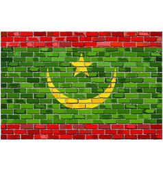 Flag of mauritania on a brick wall vector