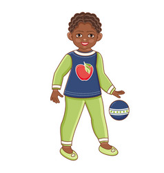 flat african black boy playing with ball vector image vector image