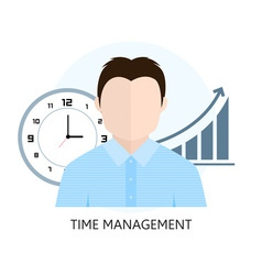 Flat design colorful concept for time management vector image