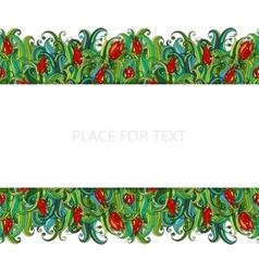 Flowers and grass seamless border pattern May be vector image