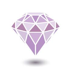 Geometrical purple diamond with shadow isolated on vector