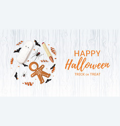 halloween festive web banner with treats vector image vector image