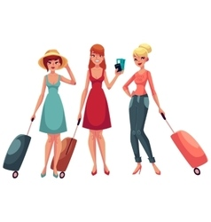 Hree girls in dress and jeans travelling vector