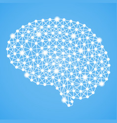 human brain isolated on a blue background vector image