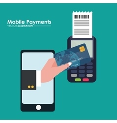 Mobile payment using smartphone connected vector