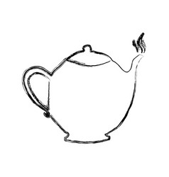 Monochrome sketch hand drawn with teapot of coffee vector