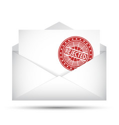open envelope rejected rubber stamp failure vector image