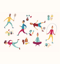 people sport activities dieting fitness and vector image
