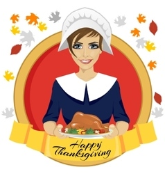 Pilgrim woman holding a roasted turkey vector