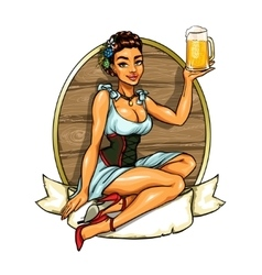 Pretty girl with beer label vector