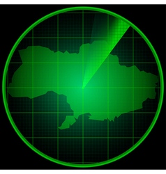 Radar screen with the silhouette of Ukraine vector image vector image